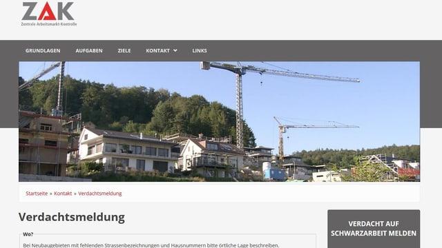 Website der Schwarzarbeitskontrollstelle ZAK, Meldeformular für Verdachtsfälle von Schwarzarbeit