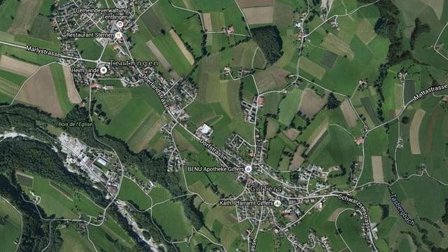 Luftkarte von Tentlingen und Giffers.