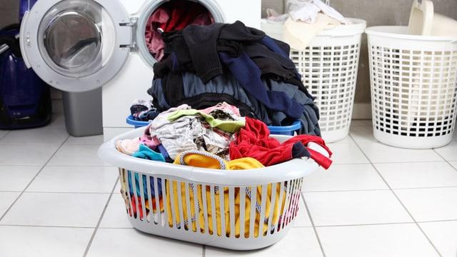 Wäschekorb vor einer Waschmaschine.