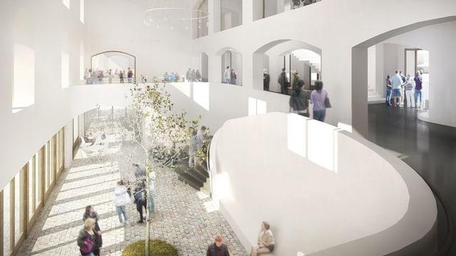 Skizze des Innenraums der neuen Kaserne.