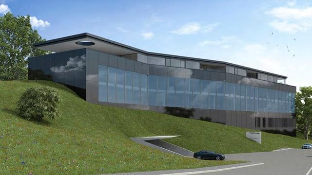 Das Projekt der Augenklinik: Ein schwarzes Gebäude, in den Hang gebaut mit einer grossen Fensterfront.