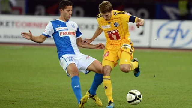 Nassim Ben Khalifa (links) und GC wollen gegen Luzern (mit Claudio Lustenberger) den 15. Saisonerfolg.