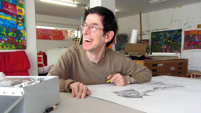 Kreativ im Creahm (2/3): Bernard Grandgirard skizziert Amerika