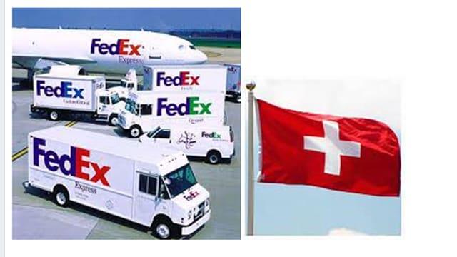 Fedex-Fahrzeugpark und Schweizerfahne.