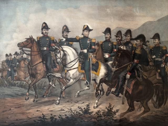 Gemälde einer Gruppe berittener Soldaten.