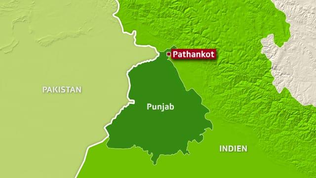 Kartenausschnitt der die Stadt Pahankot zeigt