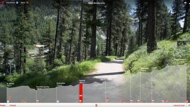 Höhenprofil im Vordergrund, hinten läuft der Wanderfilm (gerade durch einen Wald).