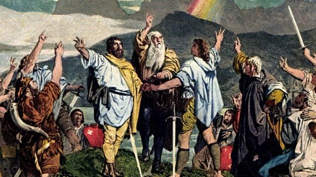 Ein Gemälde: Bärtige Männer, um ein Schwert versammelt, strecken ihre rechte Hand dem Himmel empor, drei Finger zum Schwur gespreizt.