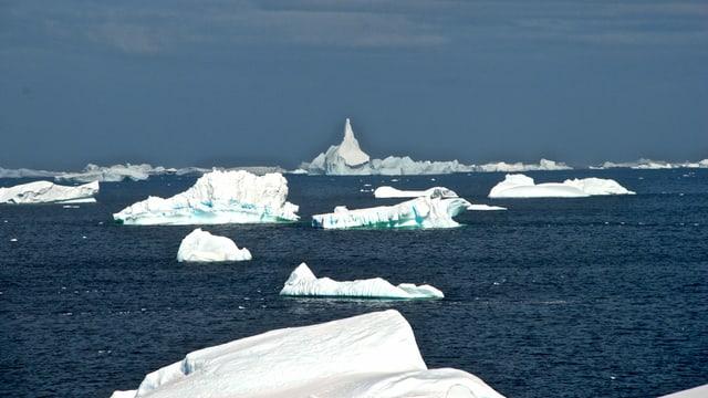 Eisberge in verschiedensten Formen auf dunkelblauem Wasser.
