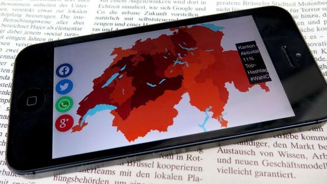 Die politischen Twitter-Zentren der Schweiz liegen ungefähr nördlich der Linie zwischen Genfer- und Bodensee.