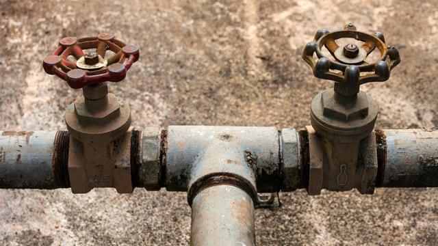 Wasserleitung mit Sperräder.
