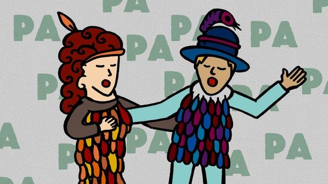 Illustration: Die Figuren der Papagena und des Papagenos mit Vogelfedern geschmückt.