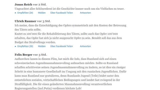 Leserkommentare auf tagesanzeiger.ch