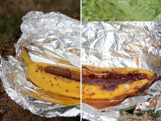 Banane in Alu-Folie.