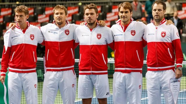Laaksonen, Chiudinelli, Wawrinka, Federer und Captain Lüthi.
