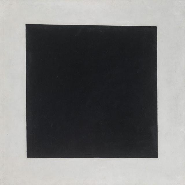 Schwarzes Quadrat auf weissem Grund.