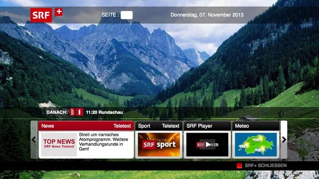 Ein Fernsehbild mit eingeblendeten Balken, die Zusatzinformationen anbieten