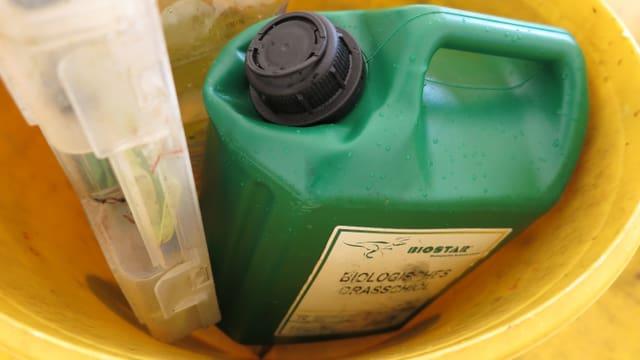 Eine Plastikflasche voller Grasskiöl.