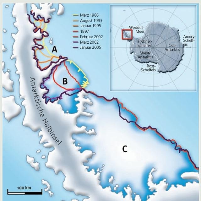 Grafik zum Larsen-Schelfeis
