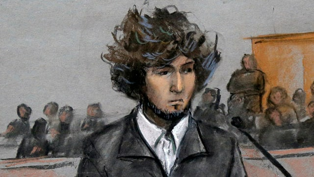 Dschochar Zarnajew während seines Prozesses in Boston auf einer Gerichtszeichnung.