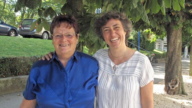 Porträt von Maya Mumthaler und Tabea Zimmermann.