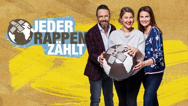 Das Glasbox-Trio bei «Jeder Rappen Zählt»: Nik Hartmann, Anic Lautenschlager und Judith Wernli