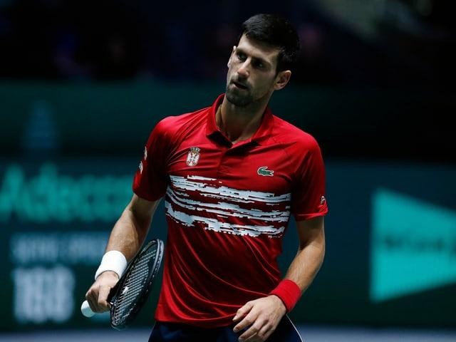 Novak Djokovic im Einsatz in Madrid 2019.