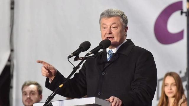 Poroschenko bei einer Rede.