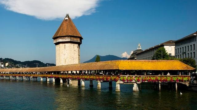 Kapellbrücke in der Stadt Luzern