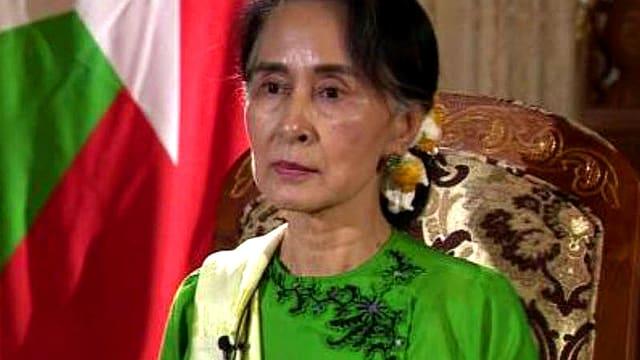 Die Friedensnobelpreisträgerin Aung San Suu Kyi in einem BBC-Interview.