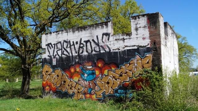Alter Bunker mit Sprayereien