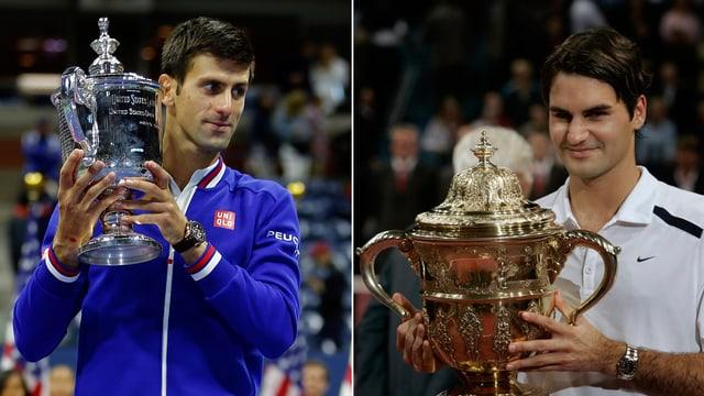 Djokovic (links) und Federer (rechts) stemmen je einen Pokal in die Höhe