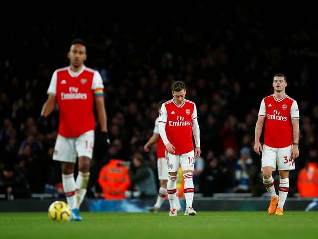 Arsenal-Spieler mit hängenden Köpfen.