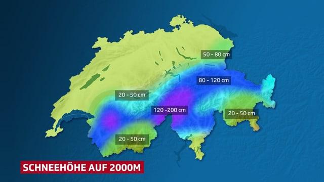Farbflächen auf der Schweizkarte symbolisieren die Bereiche mit viel und wenig Schnee.