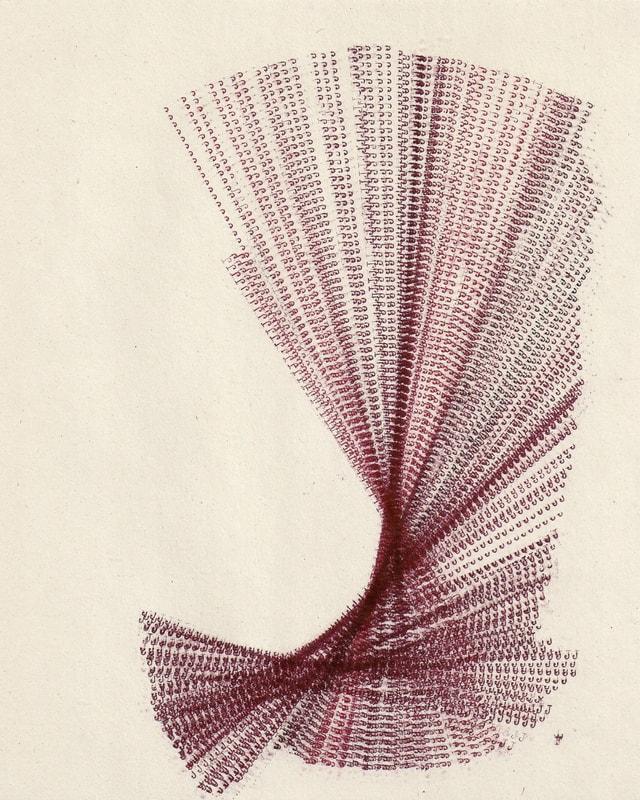 Muster aus aufgefärchten Linien. Die Linien bestehen aus roten Schreibmaschinen-Buchstaben.