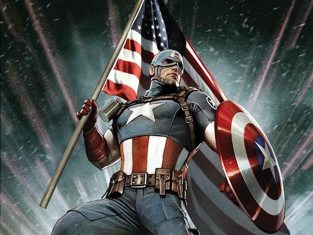 Captain America mit Schild und US-Flagge