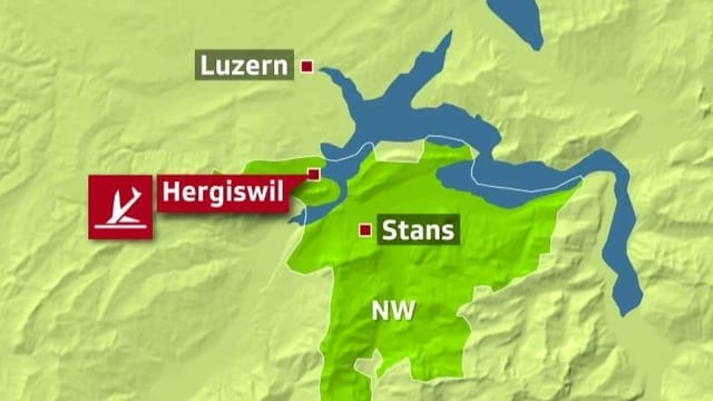 Grafik, welche die Absturzstelle eines Flugzeugs in Hergiswil zeigt.