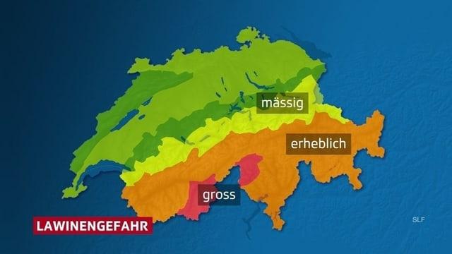 Karte zeigt die gefährdeten Gebiete in der Schweiz.