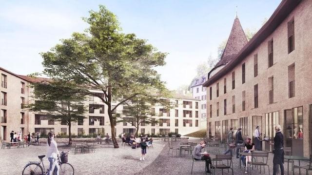 Visualisierung des umgenutzten Sennhof-Areals in Chur.