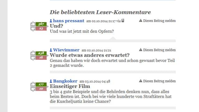 Leser-Kommentare auf 20minuten.ch