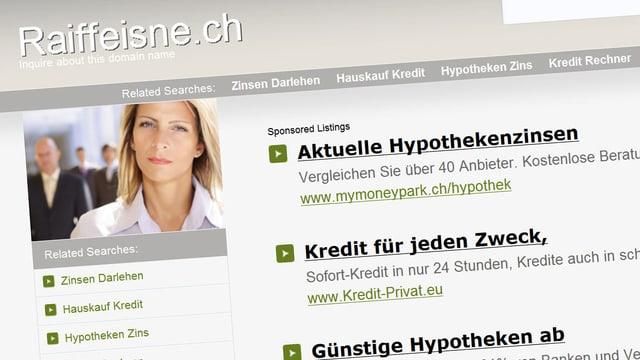 Eine Internetseite mit beabsichtigtem Tippfehler