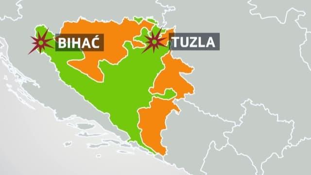 Kartenausschnitt von Bosnien-Herzegowina mit den Gebieten der Republika Srpska