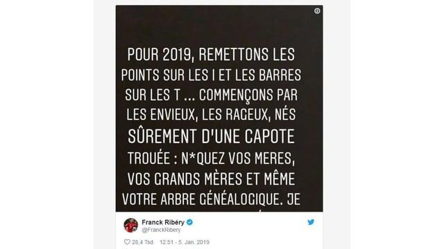 Der Tweet von Franck Ribery.