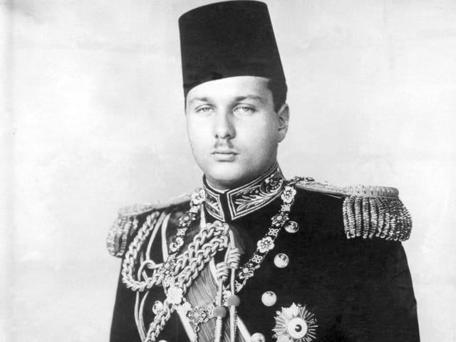 Porträt von König Farouk von Ägypten.