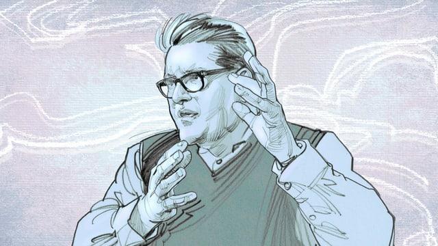 Illustration eines Mannes, der mit den Händen gestikuliert.