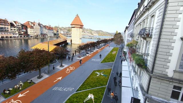 Die Visualisierung der Bahnhofstrasse zeigt Velofahrer und Grünflächen.