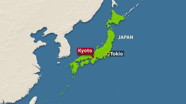 Lage Kyotos in Japan