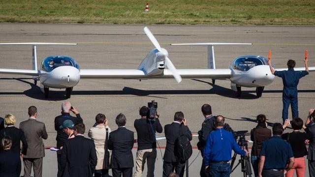 HY4: Zwei Rümpfe, ein Flügel und ein Propeller, angetrieben mit Strom aus einer Brennstoffzelle.