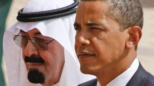 Eine Grossaufnahme der Gesichter von König Abdullah und Obama.