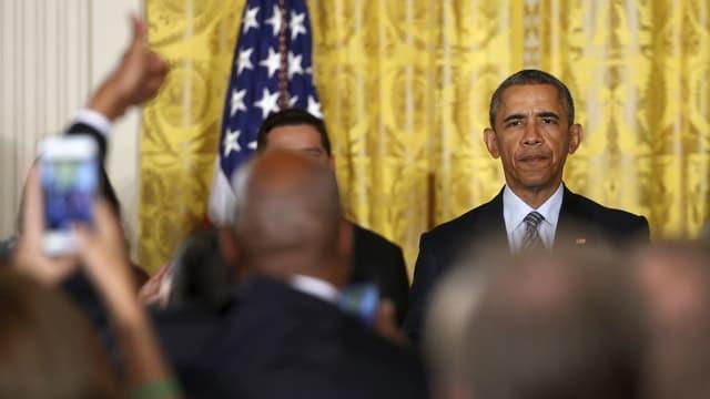 Obama bei einer Pressekonferenz.
